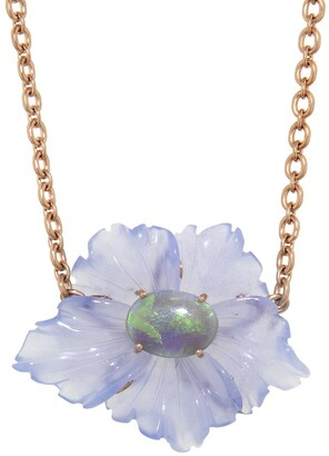 Irene Neuwirth 29.52 Carat Carved Chalcedony Opal Flower Rose Gold Necklace