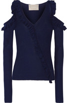 Jason Wu Cold-shoulder Ruffle-trimmed Ribbed Wool And Silk-blend Top - Storm blue