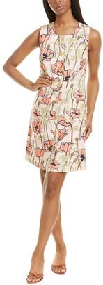 Tory Burch Printed Pocket Silk & Linen-Blend Shift Dress