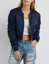Charlotte Russe Cropped Zip-Up Bomber Jacket