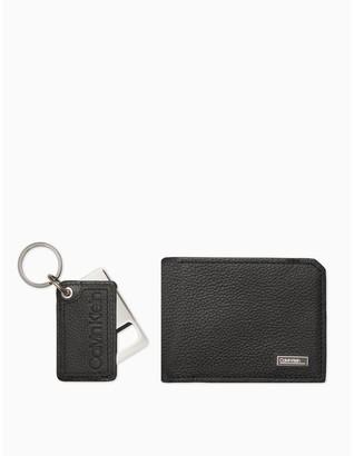 Calvin Klein Micro Pebble Bifold Wallet + Bottle Opener Key Fob