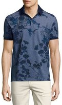 Etro Floral Melange Cotton Polo Shirt, Gray