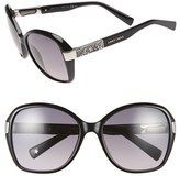 Jimmy Choo Women's 57Mm Butterfly Sunglasses - Shiny Black