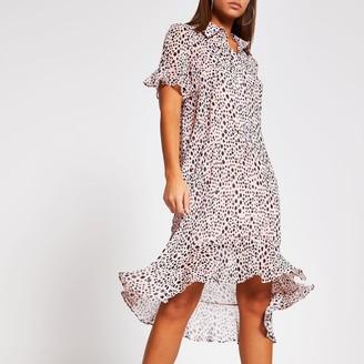 River Island Womens Pink spot print frill midi shirt dress