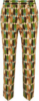 Prada Cropped Printed Wool-blend Twill Straight-leg Pants - Brown