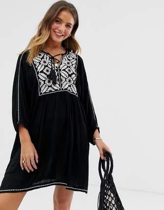Raga Rosanna embroidered shift dress-Black