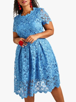 Yumi Curves Floral Lace Prom Skater Dress, Blue