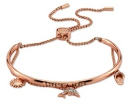 """Unwritten Cubic Zirconia """"Life's A Beach"""" Dolphin, Sandal And Sun Rose Gold Tone Adjustable Bolo Bracelet"""