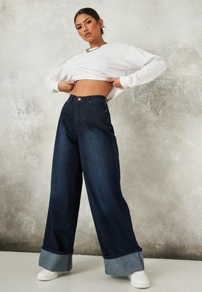 Missguided Recycled Deep Blue Turn Up Hem Baggy Boyfriend Jeans