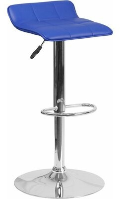 Orren Ellis Whelan Low Back Adjustable Height Swivel Bar Stool Upholstery: Blue