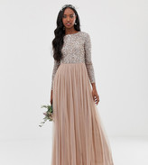 Maya Tall Bridesmaid long sleeve maxi tulle dress with tonal delicate sequins in taupe blush