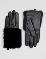 Asos Leather & Faux Fur Mix Gloves With Touch Screen