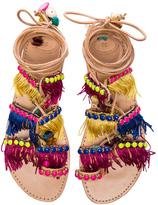 Elina Linardaki Leather Tahiti Sandals in Neutrals,Neon.
