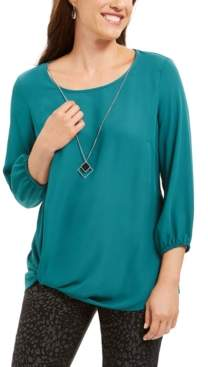 JM Collection Twist-Hem Necklace Blouse, Created For Macy's