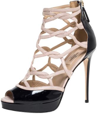 Valentino Black/Beige Patent Leather Cage Platform Sandals Size 39.5