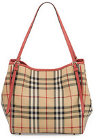 Burberry Canterbury Small Horseferry Check Tote Bag, Honey/Antique Rose