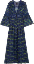 Anna Sui Lace-trimmed Floral-print Silk-blend Crepon Kimono Jacket - Blue