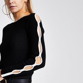 River Island Petite black cutout sleeve knit jumper