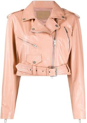 Drome Cropped Belted Biker Jacket