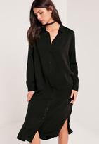 Missguided Midi Shirt Dress Black
