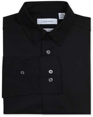 Calvin Klein Solid Long Sleeve Slim Fit Shirt (Big Boys)