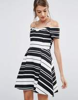Oasis Textured Stripe Bardot Dress