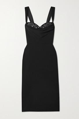 Marchesa Notte Draped Embellished Crepe Dress - Black