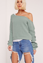 Missguided Cropped Off shoulder Sweater Green