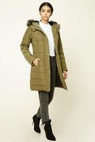 Forever 21 FOREVER 21+ Hooded Longline Puffer Jacket