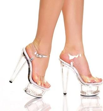 "The Highest Heel womens Spectrum Series 21 6"" Prism Heel With Clear Vinyl Upper and Ankle Strap Sandal Platform"