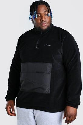 boohoo Mens Black Plus Size MAN Nylon Pocket Funnel Top, Black