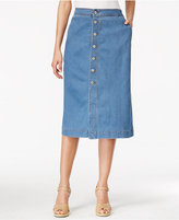 Style&Co. Style & Co Petite Denim Button-Front Midi Skirt, Only at Macy's