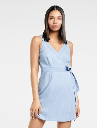 Forever New Aria Wrap Denim Mini Dress - Light wash - 4