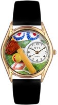 Whimsical Watches Women's C0820023 Classic Gold Softball Black Skin Leather And Goldtone Watch