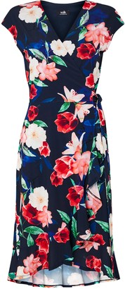 Wallis Navy Floral Print Fit and Flare Dress