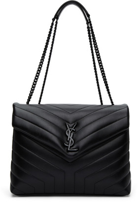 Saint Laurent Black Medium Matelasse Loulou Shoulder Bag