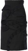 Facetasm Pleated Pinstriped Wool-twill Skirt - Navy