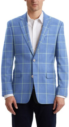Hart Schaffner Marx Light Blue Windowpane Two Button Notch Lapel New York Fit Suit Separates Jacket
