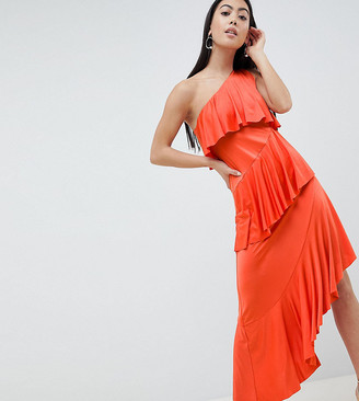 Asos DESIGN Petite one shoulder drapey tiered midi dress