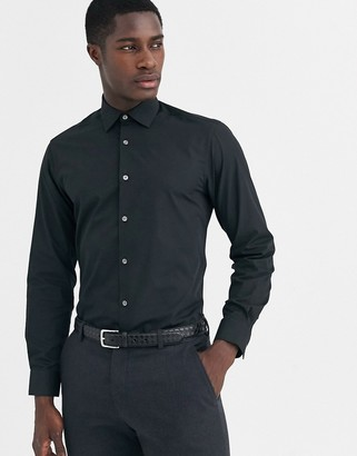 French Connection slim fit poplin shirt-Black