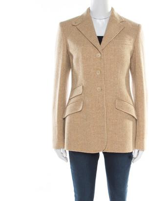 Ralph Lauren Beige Chevron Patterned Wool Button Front Blazer M