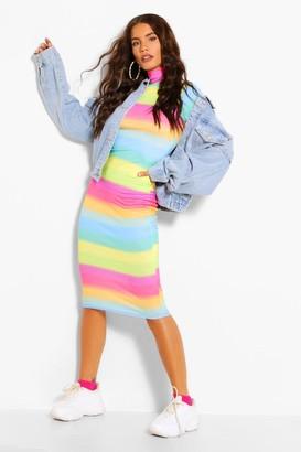 boohoo Rainbow High Neck Longsleeve Bodycon Dress