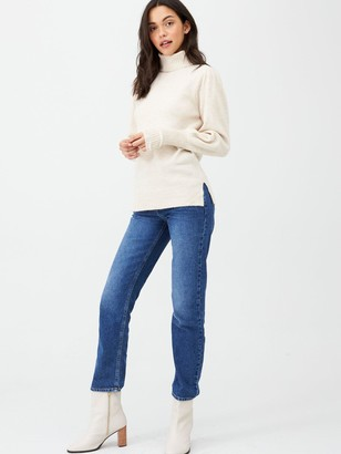 Very Puff Sleeve Roll Neck Jumper - Stone