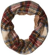 D&Y Women's Plaid and Faux Fur Lined Mixed Media Single Loop Scarf