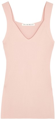Live The Process Light pink ribbed-knit tank
