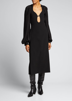 Victoria Beckham Crepe Keyhole-Front Midi Cocktail Dress