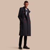 Burberry Extra-long Resin Button Cotton Gabardine Trench Coat , Size: 46, Blue