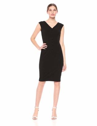 Calvin Klein Women's V Neck Sheath with Center Front Buttons Dress