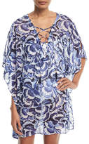 Tommy Bahama Pansy Petals Sheer Printed Lace-Up Tunic Coverup