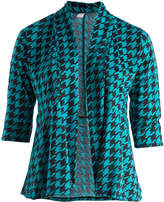 Glam Black & Teal Houndstooth Open Cardigan - Plus